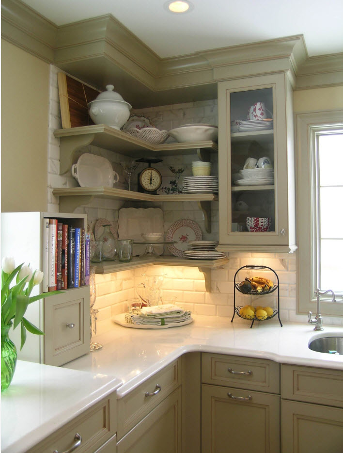 L-shaped kitchen furniture set with backlight of the counter