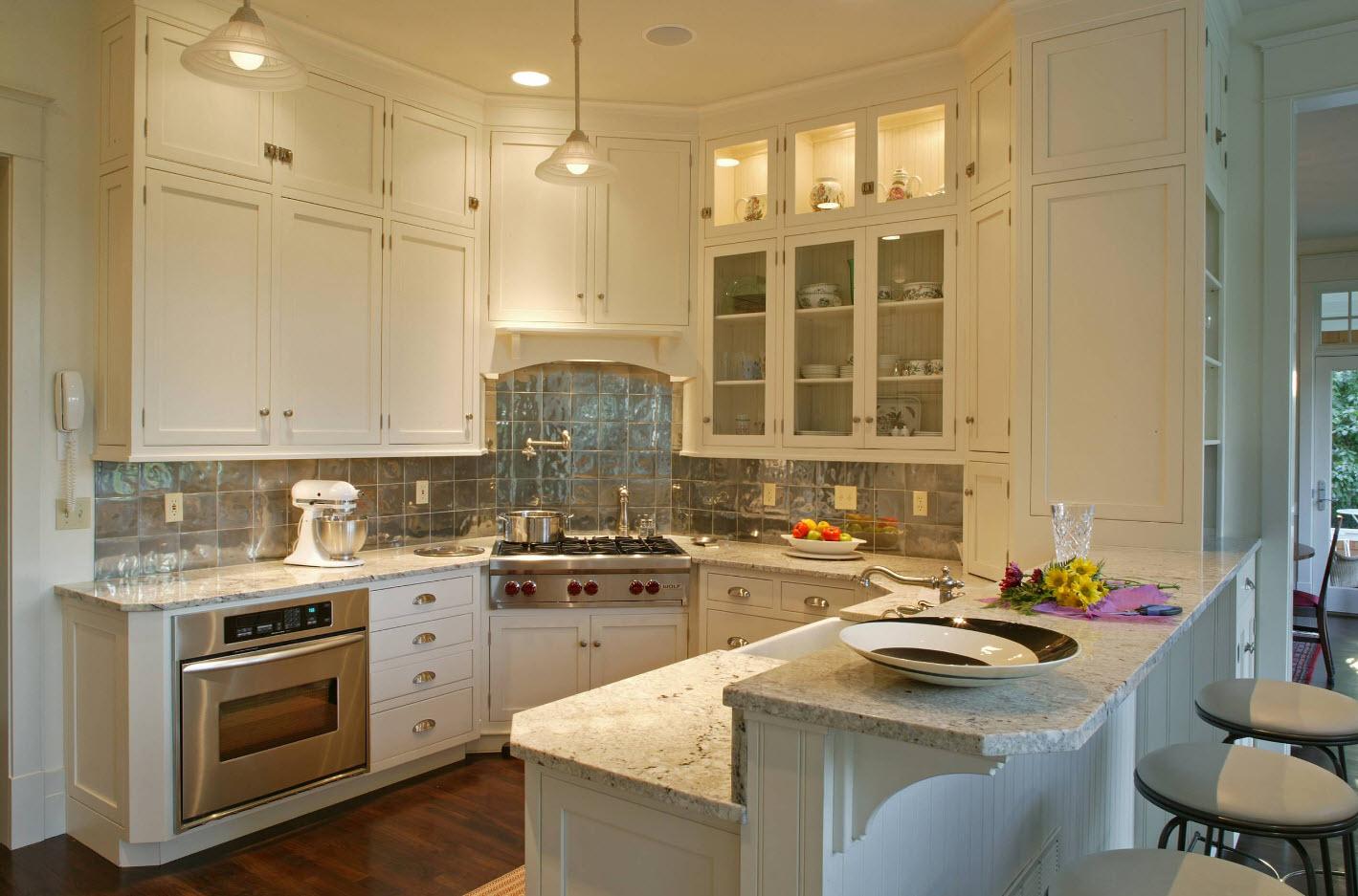 White classic kitchen facades