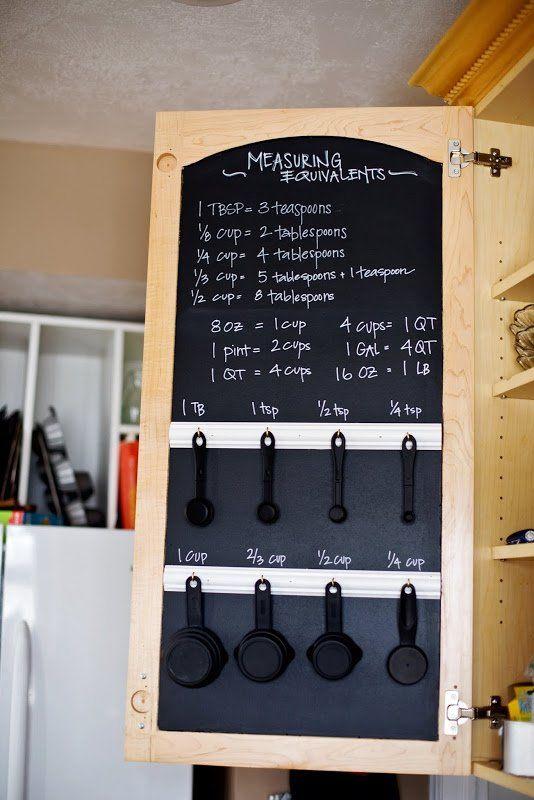 Blackbaord at the top of styled black cutlery hangers