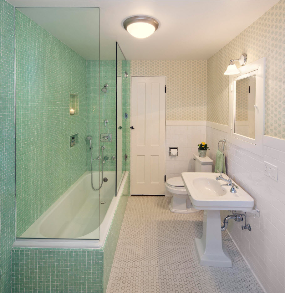 Bathroom Tiles Trends with Photogallery of Interiors 2017. Turquoise zone of the shower and the white contrast of the sink wall