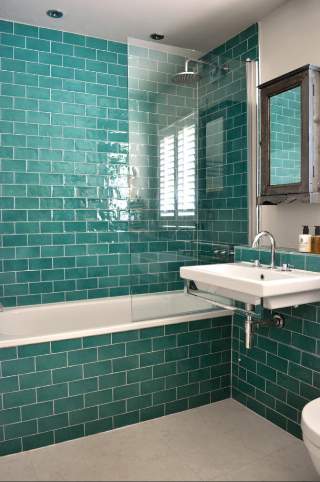 Green-blue overflow tiles titally for all the bathroom space