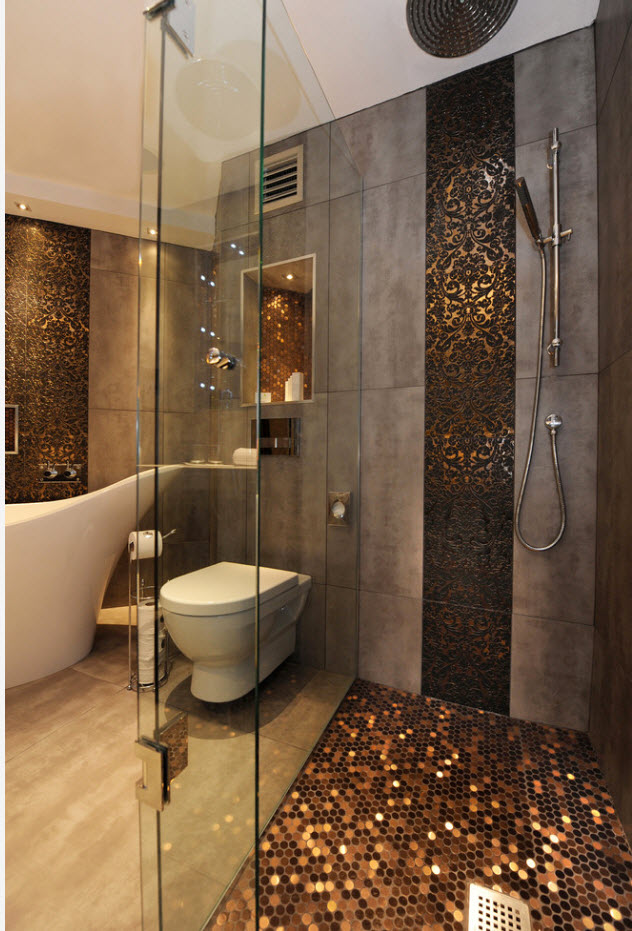 Leopard skin imitating mosaic tile in African styled bathroom 2017