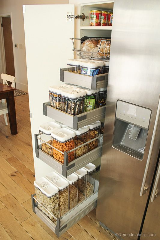 Kitchen shelves with built-in plastic cans for storage