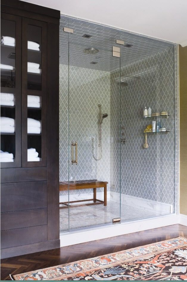 Classic setting of the bathroom with glass partitioned shower zone