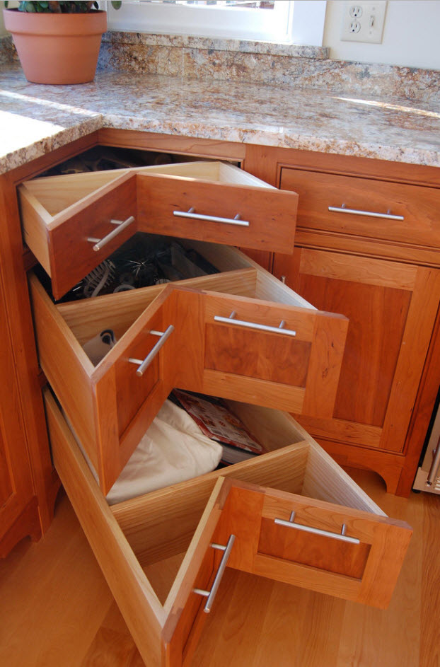 """New method of utilizing kitchen space - """"bow-tie drawers"""""""