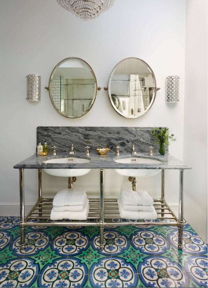 Classic bathroom area for two with open olumbing and bronze taps