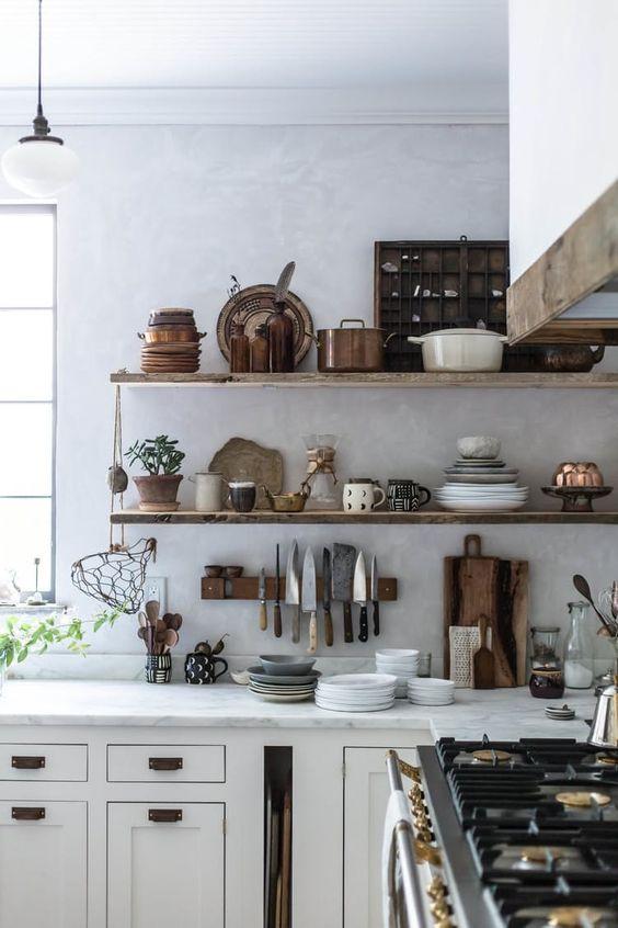 Open shelves for storing dishes