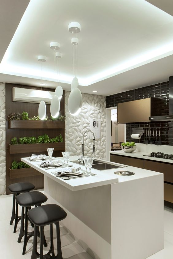 100+ Best Original Kitchen Design Ideas with Photos. Widely designed artificial lighting including LED strips in the suspended ceiling