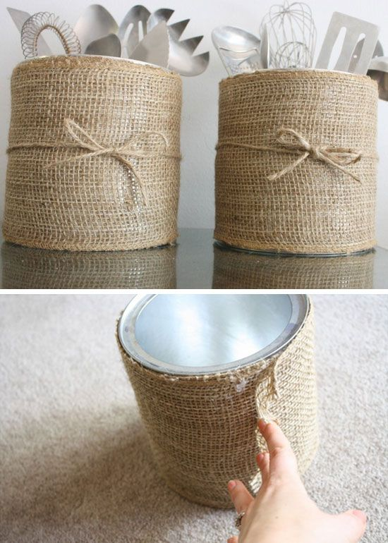 Sackcloth wrapped cups for storing cutlery