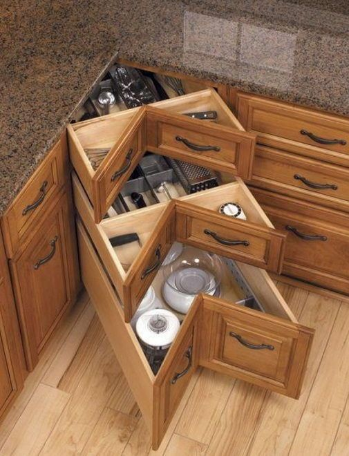 Good idea for utilising the angular space of the modern kitchen sets