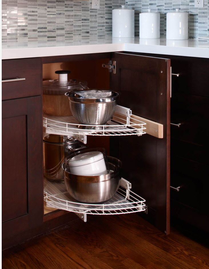 Angular drawer with semicircular shelf to store the necessary household items