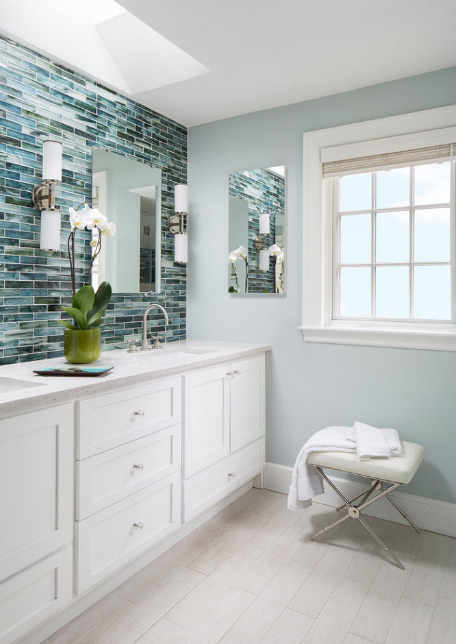 Bathroom Tiles Trends with Photogallery of Interiors 2017. Mosaic tiles make gradients at the wall