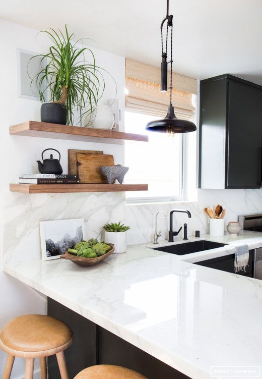 Glossy surfaces looks well integrated into the Scandinavian styled kitchen with bar counter