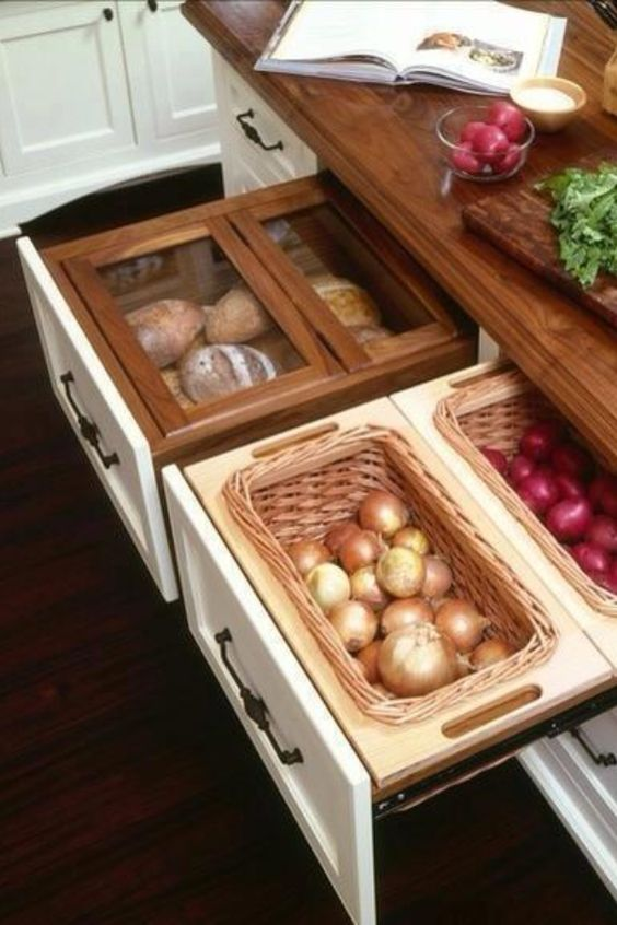 Another variant for storage the vegetables right in the kitchen set in woven trays