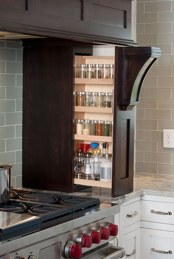 Pull-out cupboard for bottles and other moistures - well elaborated space saving idea