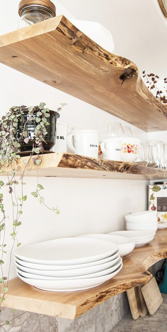 Wooden shelves at rustic styled kitchen