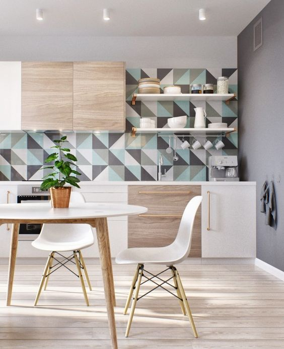 Triangle geometrical expressionism as the splashback for modern kitchen with ash-tree kitchen set