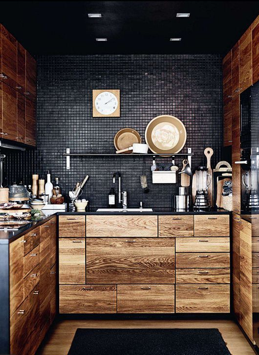 100+ Best Original Kitchen Design Ideas With Photos. Charcoal Dark Wall  Panel With Texture