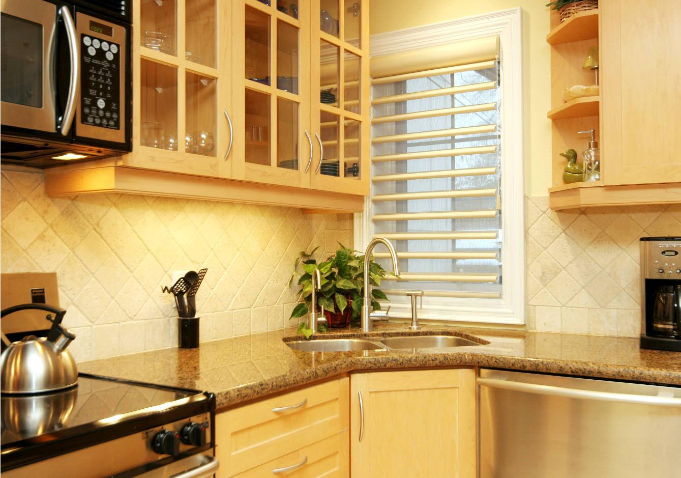 Angular Kitchen Layout Design Ideas 2017. Nice roman blinds at the window
