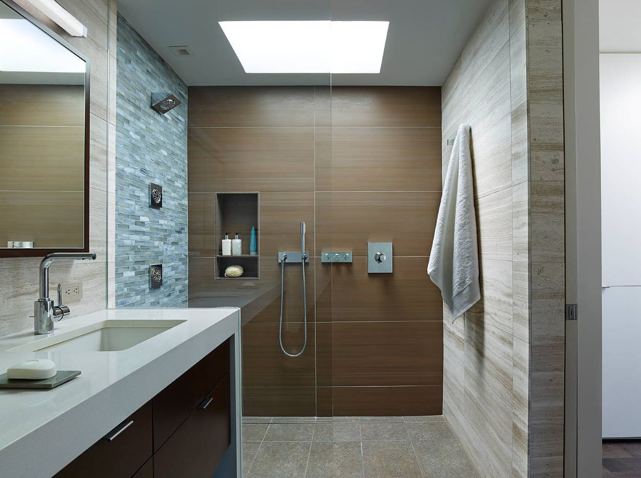 Skylight imitating lamp and the nrowm tiled accent wall in the bathroom