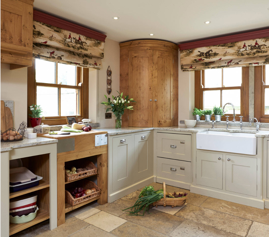 Rustic kitchen full of storage systems