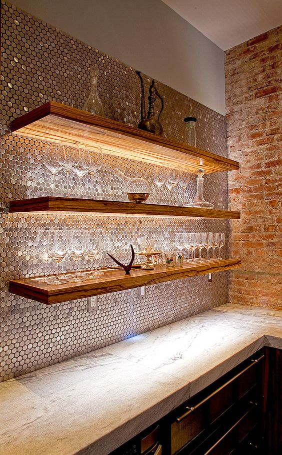Nice three levels of wooden shelves