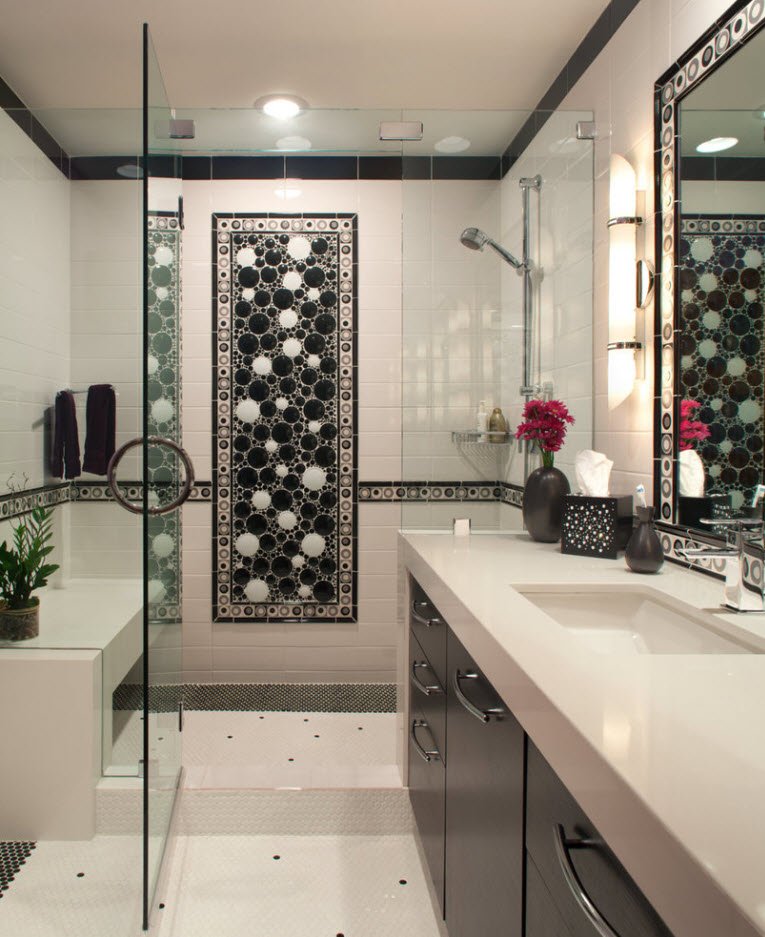Panel with black and white pebble as an accent design method for light gray setting of the modern bathroom