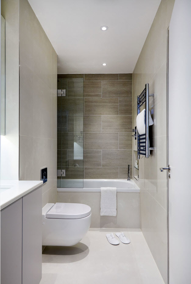 Modular different level walls in the modern styled bathroom