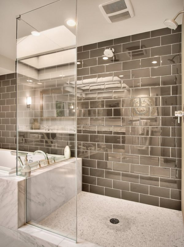 Unbeatable silver imitating glossy tiles for the futuristic styled bathroom
