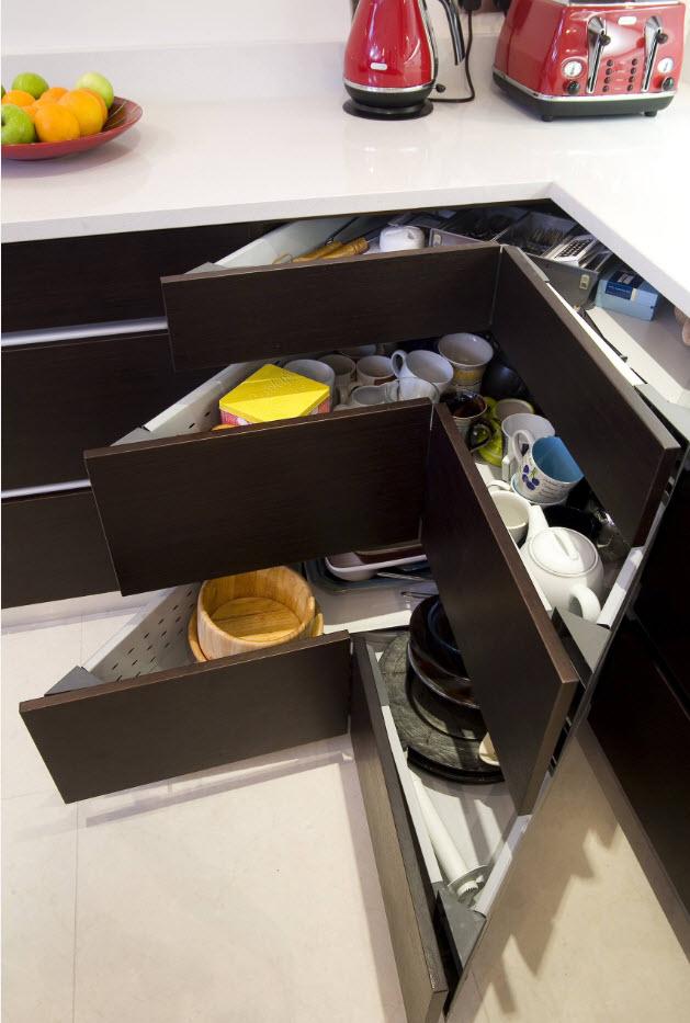 Dark angular formed drawers