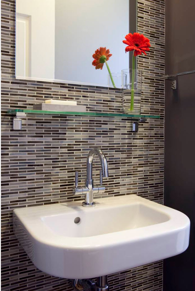 Bathroom Tiles Trends with Photogallery of Interiors 2017. Nice shallow mosaic tile in front of the sink