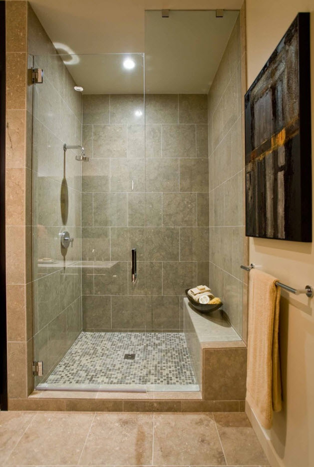 Large brown tiles with whitewashed seams to emphasize noble African style in the bathroom