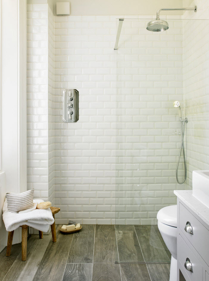 White subway tile for the loft decorated bathroom