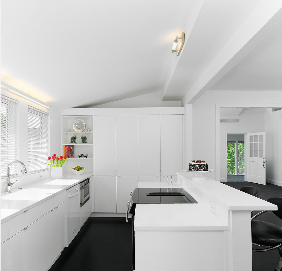 Modern large kitchen in white colo palette with dark concrete floor