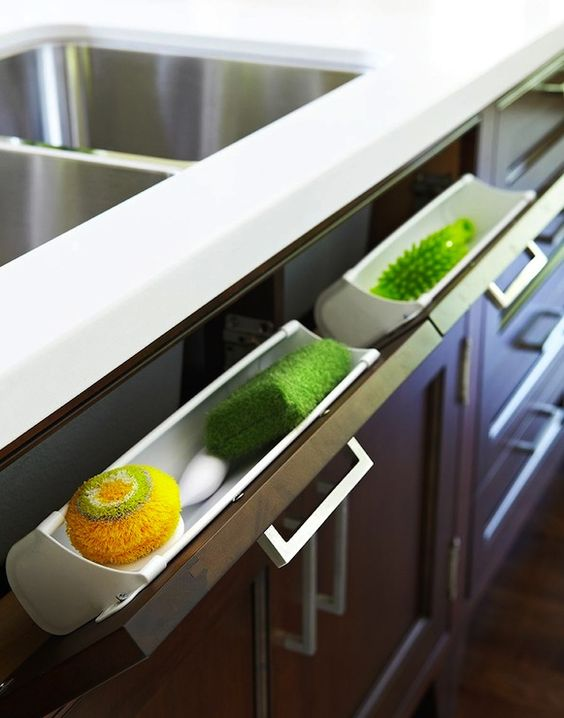 Nice side pullout shelves for household things