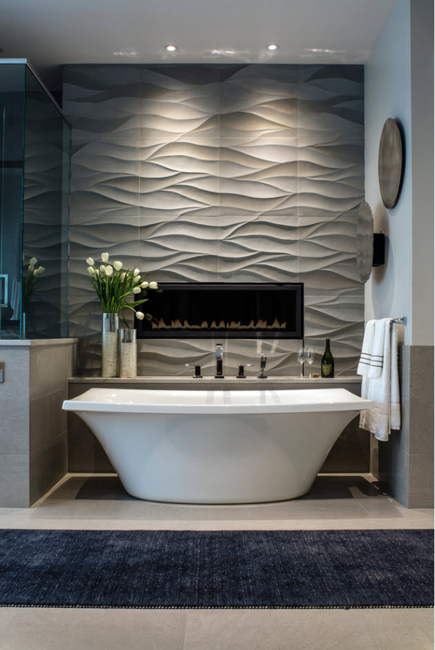 Nice wavy textured tile with artificial light to emphasize the design idea