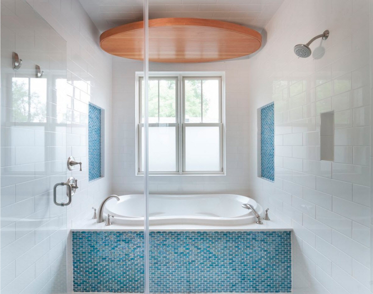 Bathroom Tiles Trends with Photogallery of Interiors 2017. Multileveled suspended ceiling with neat peachy tier in the white atmosphere