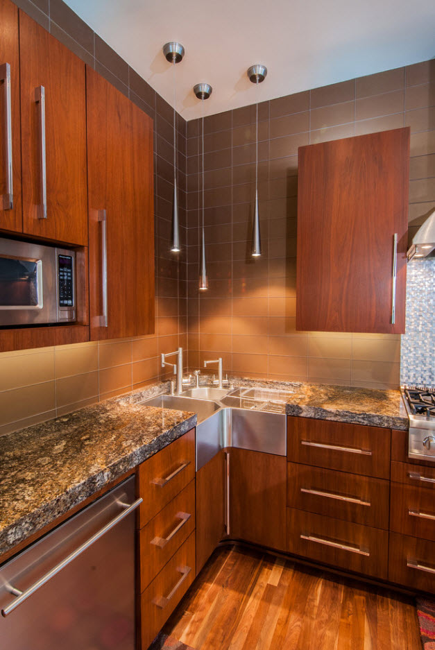 Angular Kitchen Layout Design Ideas 2017. Noble wooden furniture for the small space