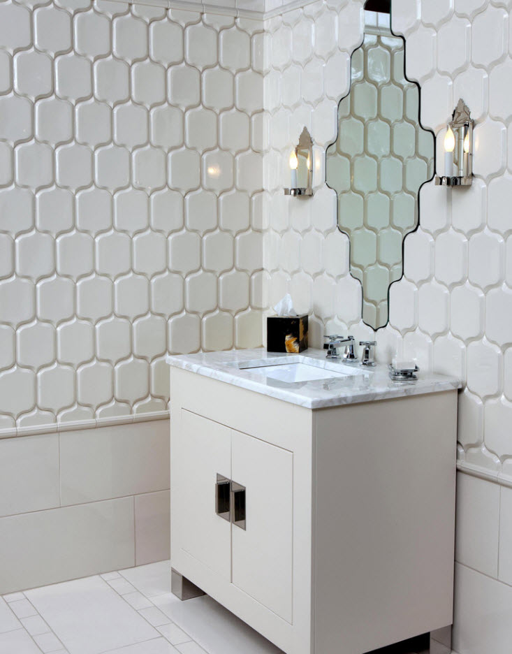 Bathroom Tiles Trends with Photogallery of Interiors 2017. Honeycomb tiles