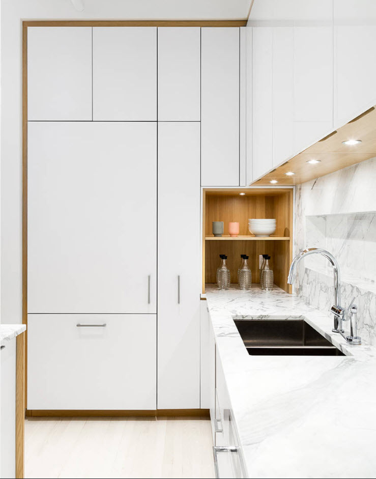 White hi-tech kitchen set and wooden inner shelves