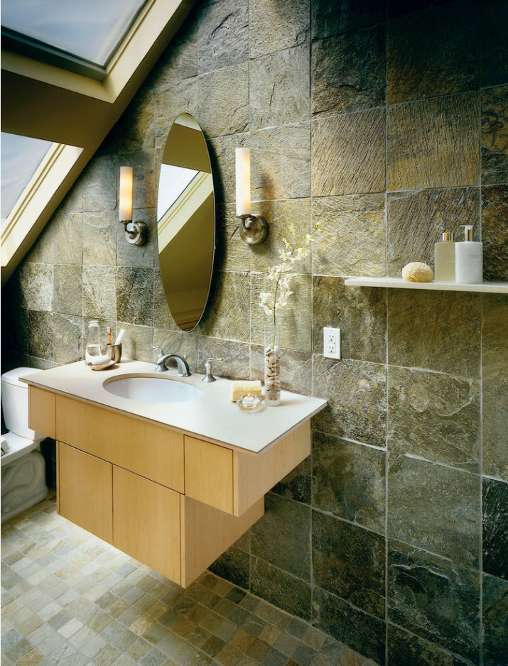 Gorgeousmarble simulation and hovering vanity in ultramodern large loft ceiling bathroom