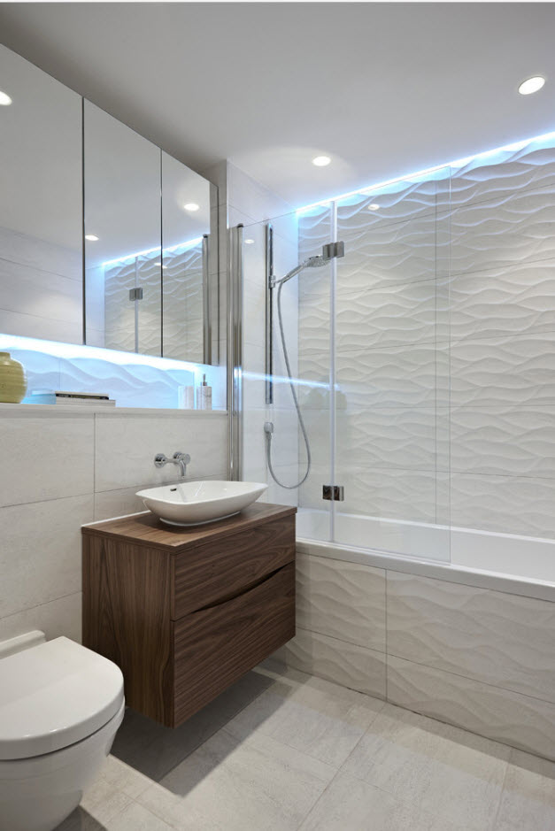 Ultramodern bathroom with sup-sink, suspended vanity and wavy tiles, along with LED strip ceiling perimeter lighting