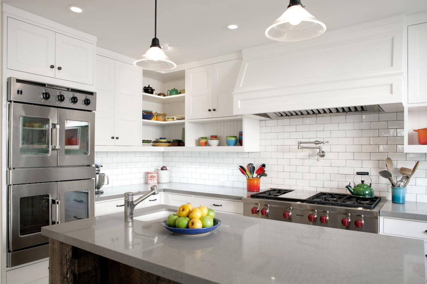 Angular Kitchen Layout Design Ideas 2017. Modern rusticality through interpretation of top-class accessories and materials