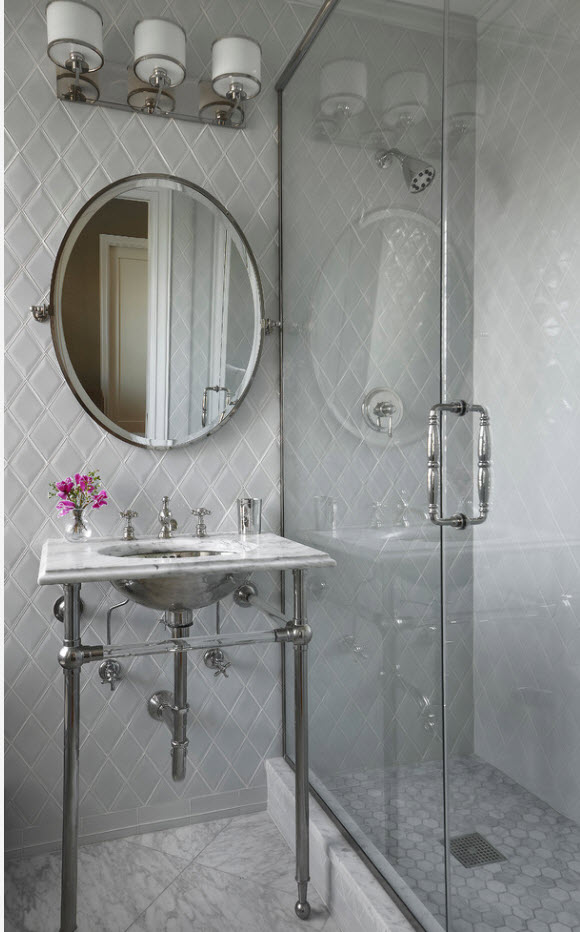 Bathroom Tiles Trends with Photogallery of Interiors 2017. Rhomb layed tile in the classic and loft styled bathroom with open steel pipes