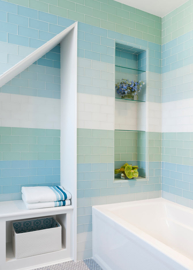 Striped wall tiling in light blue and white gradient