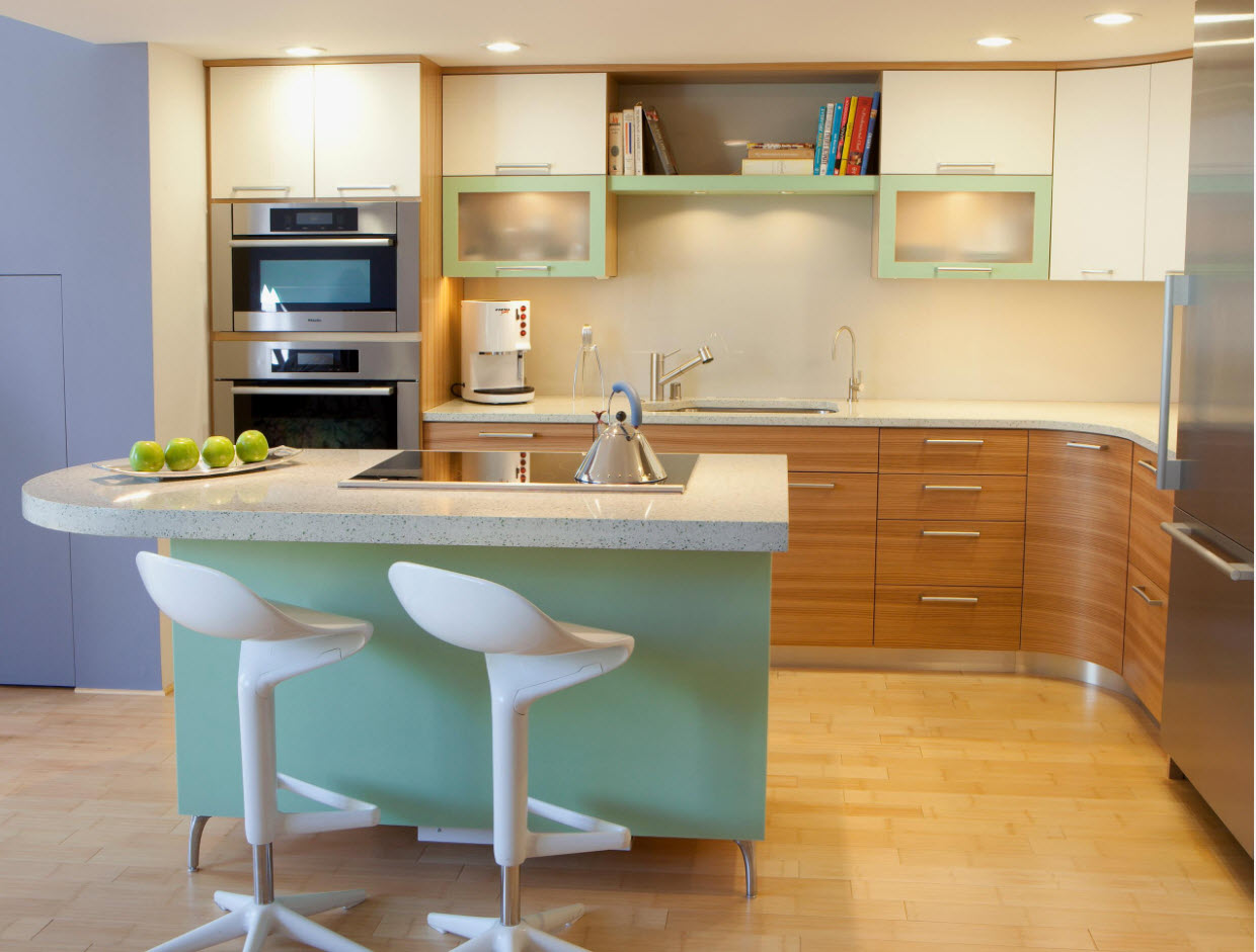Versatility of colors in modern kitchen with turquoise island