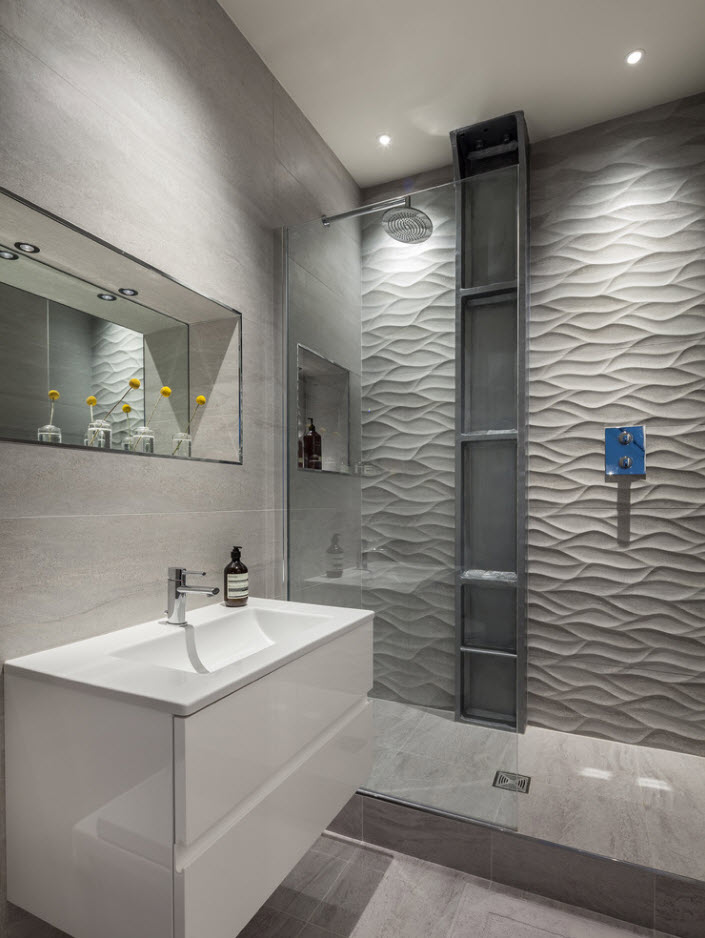 Gray wavy textured tiles and great artificial lighting system