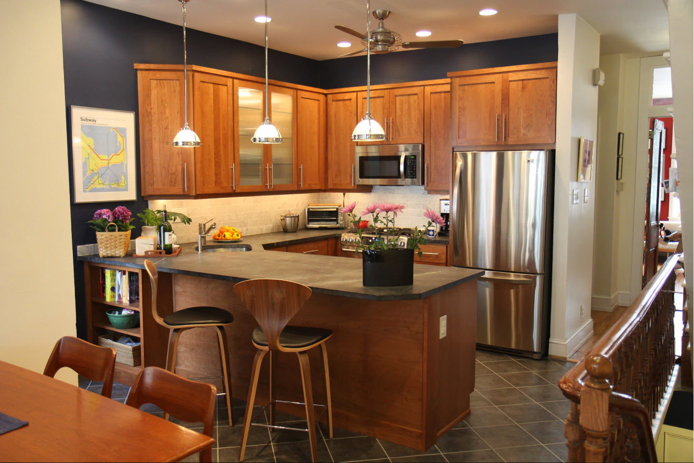 Angular Kitchen Layout Design Ideas 2017. Dark noble wooden materials to trim the classic styled space