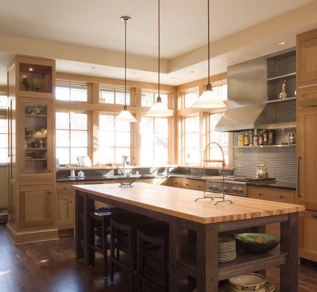Angular kitchen furniture layout and windows in the corner