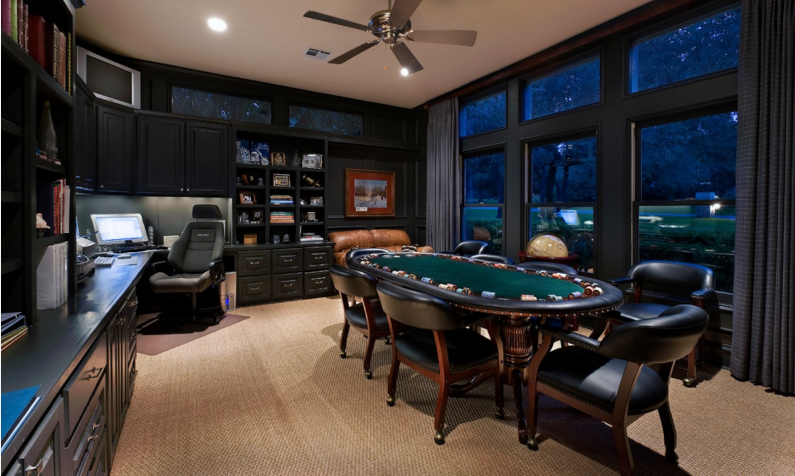 Large home office in classic style with poker zone